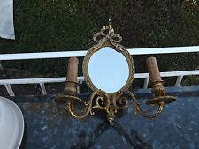 superbe ancienne applique louis 16 noeud et miroir en bronze