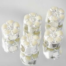 5Pcs White Gold Plated Beige Enamel Beads Lot Fit European Bracelet Large Hole