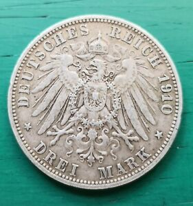 1910 Germany wurtemburg  3 marks silver coin #444
