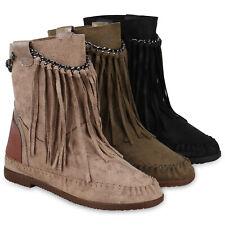 Damen Stiefeletten Mokassin Boots Wildleder-Optik Stiefel Fransen 824724 Schuhe