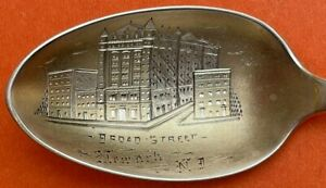 """5-7/8"""" SOLID RARE NEWARK NEW JERSEY BROAD STREET STERLING SILVER SOUVENIR SPOON"""