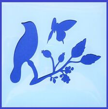 Flexible Stencil *SONG BIRD ON BRANCH* Butterfly Leaves Card Making 14cm x 14cm