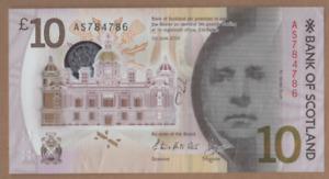 "BANK OF SCOTLAND P0LYMER  ""786"" £10   [ AS 784786 ] FREEPOST RECORDED UK"