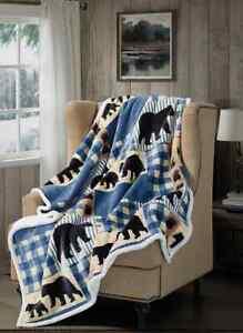 BLACK BEAR BLUE PLAID FLANNEL SHERPA SOFT THROW BLANKET 50 x 60 IN