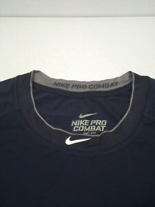 Nike Men's NPC Core Fitted Raglan Shirt Sz XL Navy Pro Combat Dri-Fit 456174-419