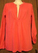Ann Taylor Loft Woman Red Pink Striped Deep Henley Roll Up Sleeve Shirt Top XS *