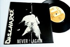 """DISCHARGE never again 7"""" 80s hardcore d beat punk collector VG+ VG+"""