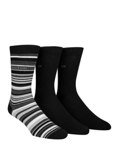 Calvin Klein Mens 3-Pack Combed Cotton Casual Striped Solid Socks Size 7-12