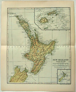 Original 1910 Map of New Zealand - North Island by Dodd Mead & Company. Antique