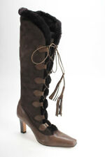 Manolo Blahnik Womens Suede Shearling Knee High Boots Brown Size 40 10