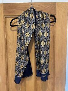 Vintage Unisex Lanvin Cashmere Wool Silk Blue Scarf