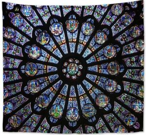 """NEW 60"""" x 52"""" Notre Dame Cathedral South Rose Window Tapestry Wall Decor"""