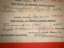 BISBEE ARIZONA 1906 1907 BANK CHECKS TRANSVAAL COPPER MINE FOR MEXICAN SILVER AZ