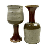 Art Pottery Stoneware Wine Goblets Glazed Earth Tones Signed Pair Of 2