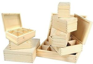 Wooden Sectional Boxes Removable Slats Storage bead Craft Art Paint Tea Box NEW