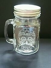 Engraved Candy Skull Mason Drinking Jar
