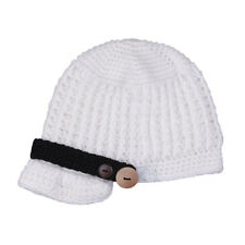 Baby Infant Kid Boy Girl knitted Crochet Wool Brim Buttons Beanie Newsboy Hat