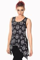 Women's Black Gothic Punk Rockabilly Sugar Skull Lace Paloma Top Banned Apparel