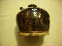 A Brown glazed 19thC American Redware Jug #1 (13cm H X 13cm W & 11.5cm base)