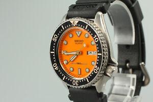 """Near Mint+++ w/ New Band"" SEIKO 6458-600A Quartz Divers 150mm Orange from Japan"