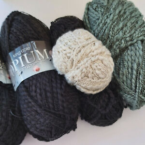 Knitting Yarn ~ King Cole Opium - mixed lot for £10.00 @ 375g black/green/taupe