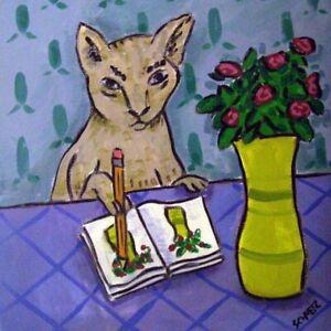 grey cat artist tile art coaster gift JSCHMETZ modern