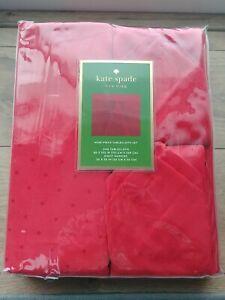 "🌟NEW🌟Kate Spade New York Larabee Dot Tablecloth 60""x102"" & 8 Napkin Set Red"