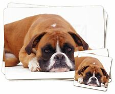 Red and White Boxer Dog Twin 2x Placemats+2x Coasters Set in Gift Box, AD-B26PC