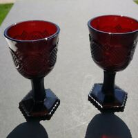 2 Avon 1876 Cape Cod Pattern Ruby Red Pressed Glass Small Goblets 5 1/4""