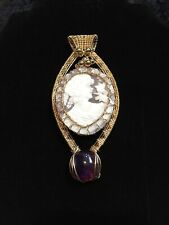 Gorgeous 14k Yellow GF Cameo Pendant with Amethyst