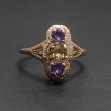 Genuine .68ctw Citrine & Amethyst 14k Rose Gold/Sterling Silver Filigree Ring
