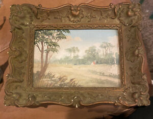 small miniature oil painting vintage landscape House of MARCO CORTINELLI Framed