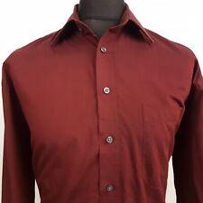Paul Smith Mens Shirt 42 (XL) Long Sleeve Burgundy Regular Fit No Pattern Cotton