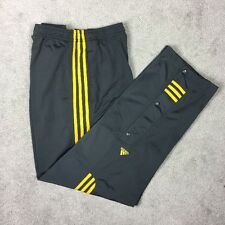 Vintage ADIDAS Track Pants Trefoil Tear Away Snap Bottoms Gray & Yellow Stripe.
