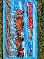 Vintage Budweiser Clydesdale running on beach towel