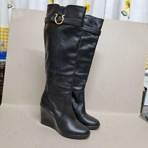 SALVATORE FERRAGAMO WOMEN'S WEDGE SOLE KNEE HIGH LEATHER BOOTS BLACK SIZE UK5
