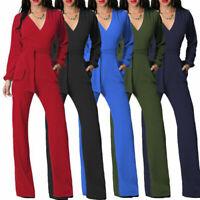Womens Long Sleeve V Neck Wide Leg Pants High Waist Jumpsuit Rompers With Belt