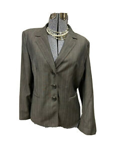 NWT Kasper Gray Pinstripes Career Blazer Suit Jacket Petite 16P 3 Buttons $139