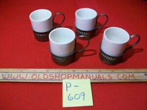 VINTAGE SET OF 4 DEMITASSE CUPS- SILVERPLATE & WHITE CERAMIC MADE IN ENGLAND VGC