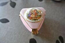 Boite bijoux porcelaine de Limoges rose et or ancienne vintage