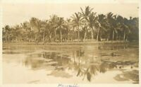 Hawaii Palm Lagoon Honolulu 1914 RPPC Photo Postcard 20-3245