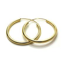 De 9 quilates de oro 25mm Sleeper pendientes de aro de 2 mm de tubo traviesas Aros