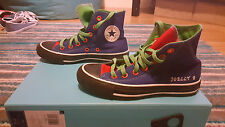 Customised Blue green red black white converse all star trainers boots size 3