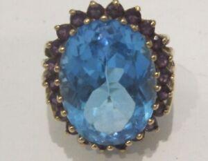 VINTAGE 14 K GOLD LARGE BLUE QUARTZ AND AMETHYST COCKTAIL RING
