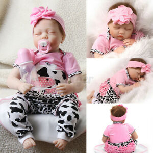 22'' Lifelike Baby Doll Handmade Silicone Vinyl Reborn Newborn Dolls Toy Gift *
