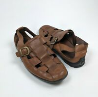 Cole Haan Fisherman Closed Toe Brown Leather Sandals Loafer Flats Men sz.14M