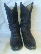 Vintage Tony Lama 2933 Black Leather Mens Cowboy Boots Used Ranch Worn Size 12