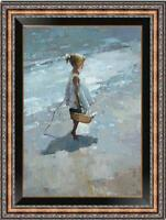 "Hand-painted Original Oil painting art Landscape girl On Canvas 24""x36"""