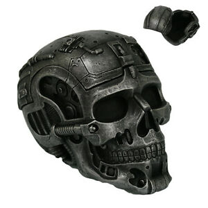 Skull Cyborg Robot  Figurine Statue Skeleton Trinket Box Halloween