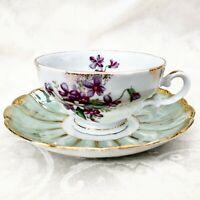 Vintage Royal Sealy China & Lefton Japan Footed Tea Cup &  Saucer Set Violets